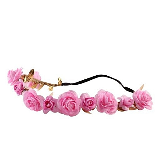 Wedding Bridesmaid Floral Flower Festival Forehead Headband Hair Garland -pink, Neworldline