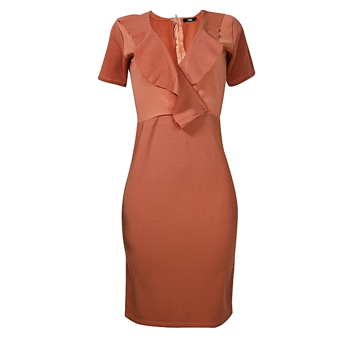 Short Sleeve Sheath Midi Dress - Peach