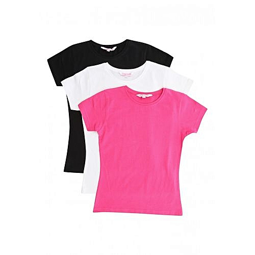766e355c Buy Key 3 Pack Round Neck Short Sleeve T-Shirt Set - White/Black ...
