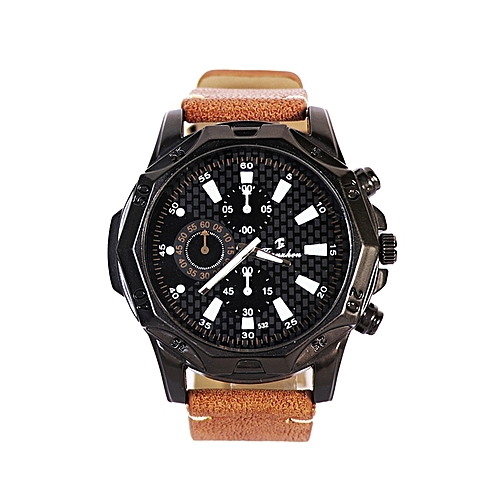 Leather Analog Wrist Watch - Brown