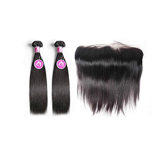 Malaysian Virgin Straight Human Hair - 2 Piece - 12'' + Lace Frontal Closure - Natural Black