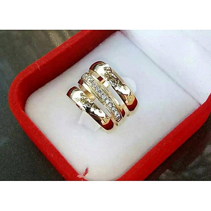 White Label 3 Piece Wedding Ring Set Gold Jumia Ghana