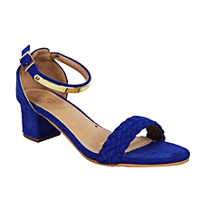 7358b56237d Ankle Strap Block Heels Sandals - Royal Blue