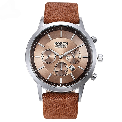 Luxury Leather Analog Wrist Watch - Brown