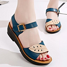 32d61ac68bc085 Fashion Women Leaves Comfortable Buckle Wedges Summer Sandals