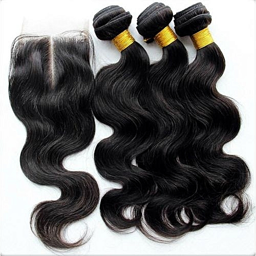 "Body Wave Pure Virgin Indian Human Hair + Lace Closure - 3 Piece - 16"" - Natural Black"