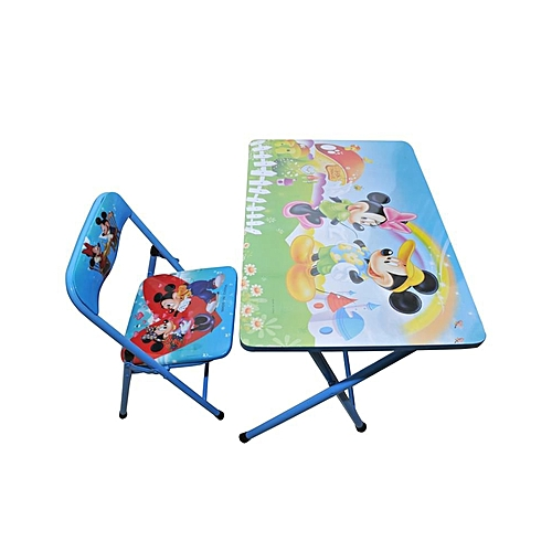 Buy White Label Kids Foldable Learning Table & Chair - Blue