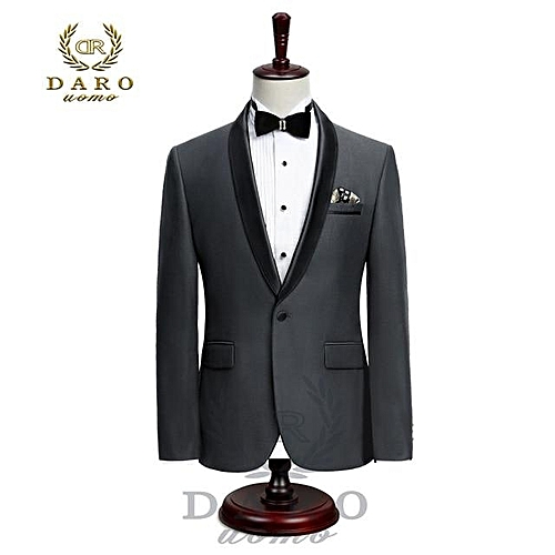 Single Button Tuxedo Suit - Black