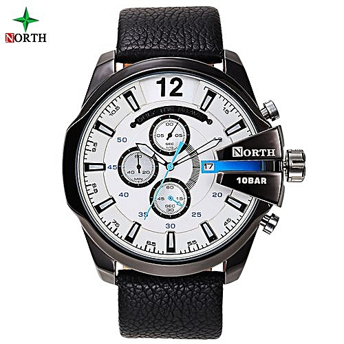 Leather Chronograph Wrist Watch - Black/Silver