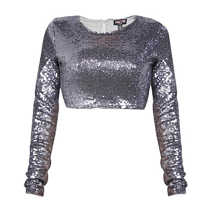 d2a2a6c6afba44 Buy Seductions Sequin Long Sleeve Crop Top - Silver online   Jumia Ghana