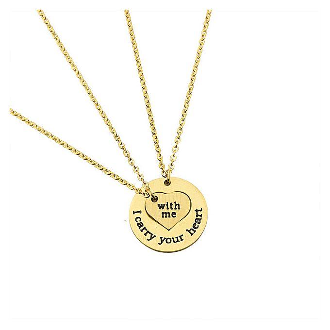 White Label Couples Pendant Necklace Set Gold Buy online
