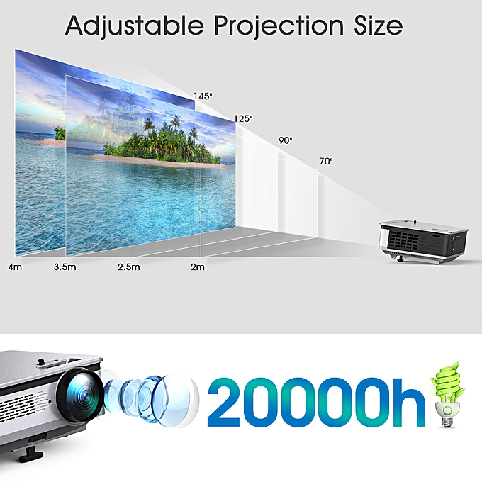 "HT60 Home Projector Android 6 0 1080P 5 8"" LCD 3200lm US - Ash Gray"