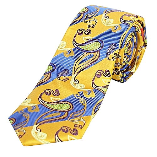 Paisley Print Tie with Pocket Square - Blue/Gold