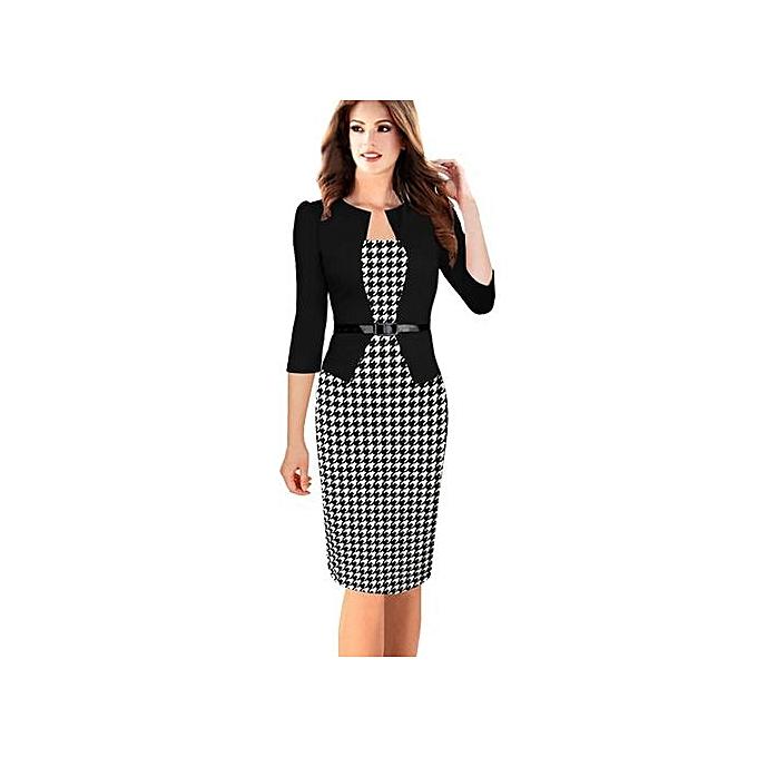 0e2b13ad62b Women Office Dress Plus Size Faux Jacket One-Piece Bodycon Vestidos  Patchwork Elegant Summer Wear