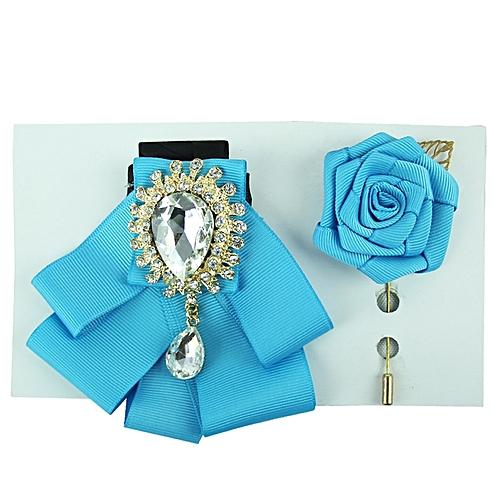 Rhinestone Detail Bowtie Set - Turquoise Blue