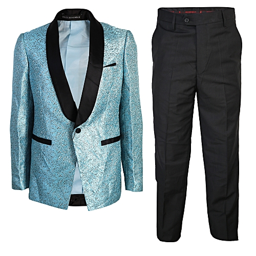Floral 2-Piece Slim Fit Tuxedo - Turquoise /Black
