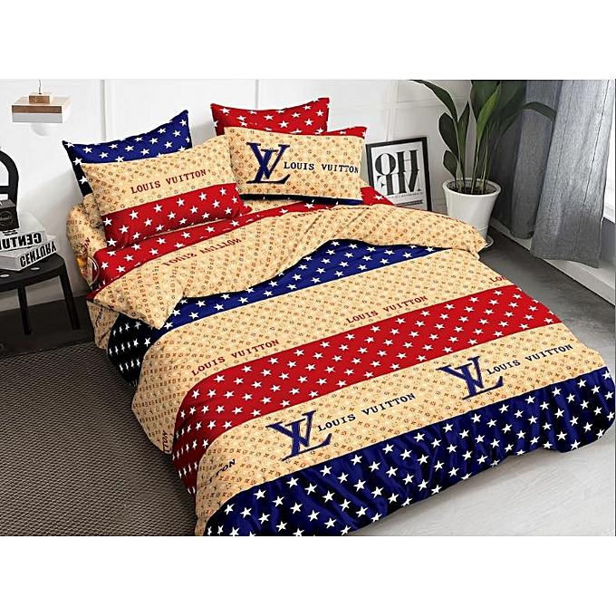 White Label Queen Size Louis Vuitton Print Bedsheet Set Multicolor