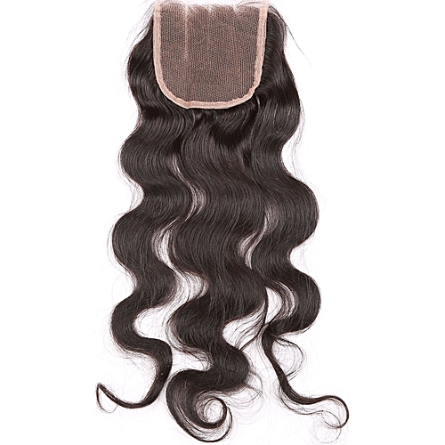 "Pure Virgin 4x4 Hand-Tied Human Hair 3-Part Closure - 14"" - Natural Black"