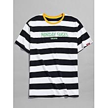06626cd04b42 Contrast Striped Letter Print Short Sleeve Casual T-shirt,Deep Blue
