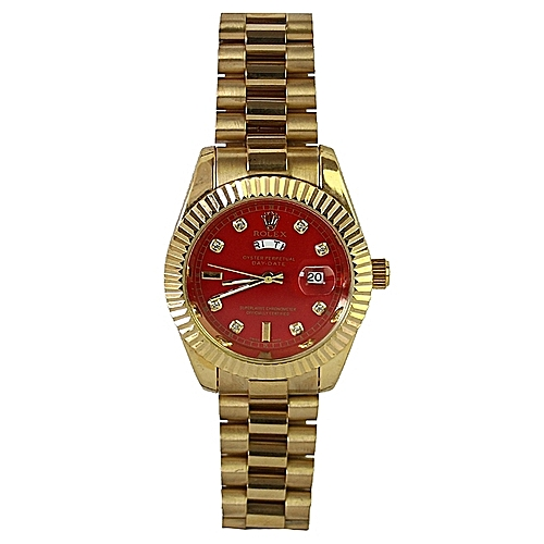 Stainless Steel Wristwatch - Gold/Red