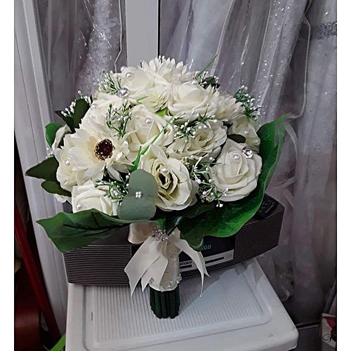 """White Flower Faux Bouquet - 10"""""""