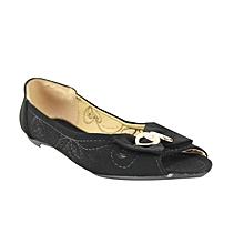 dbc1b4571ac Bow Detail Peep Toe Ballerina Shoes - Black