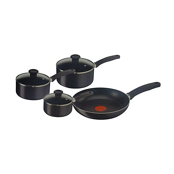 buy white label non stick cookware set 7 piece black. Black Bedroom Furniture Sets. Home Design Ideas