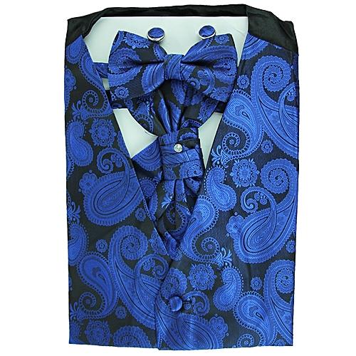 Paisley Print Vest Set - Blue