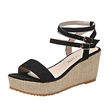 ca9c7a0c16d2e Blicool Shoes Fashion Women Fish Mouth Platform High Heels Wedges Sandals  Buckle Slope Shoes Black