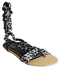 29eb2797753 Animal Print Gladiator Flat Sandals - Black
