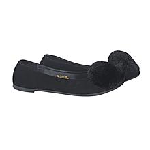 83ec7519061 Suede Pom Pom Flat Shoes - Black