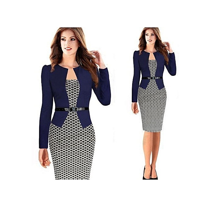 Beauty Fish Pattern Women Office Dress Plus Size Faux Jacket One-Piece  Bodycon Vestidos Patchwork 2ad30c90a171