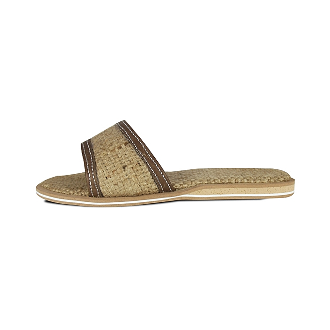Trap Jute Slippers-Brown