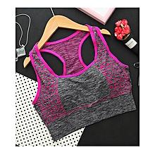 2a9d5010ab Womens Seamless Print Racerback Crop Tank Top Yoga Sports Bras Underwear