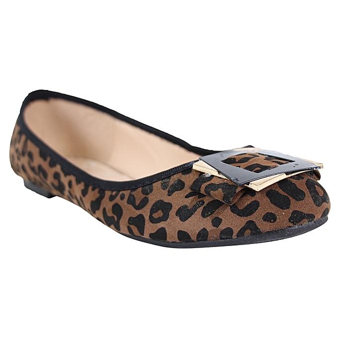 f3c28f4eafe Tlilas Leopard Print Ballerina Flats - Black Brown