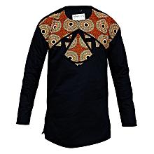 44b0a09497 African Print Detail Long Sleeve Shirt - Navy Blue Brown
