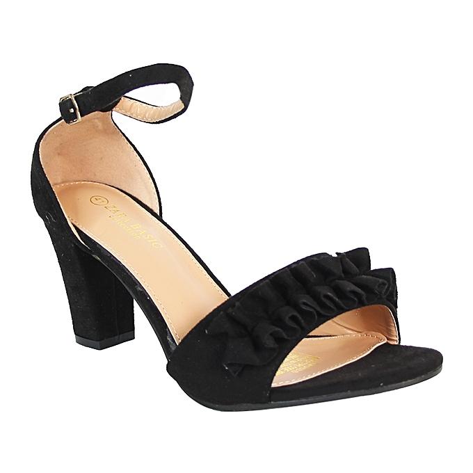 e25232af0ce White Label Ankle Strap Block Heel Sandals - Black