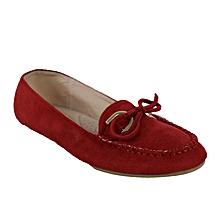 d9da4443333 Suede Bow Detail Ballerina Flats - Red