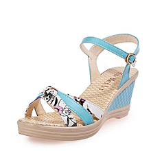 08c6847869fe1 Blicool Shoes Ladies Women Wedges Shoes Summer Sandals Platform Toe High-Heeled  Shoes Blue
