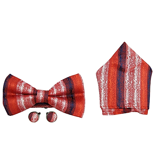 Printed Bow Tie Set - Red