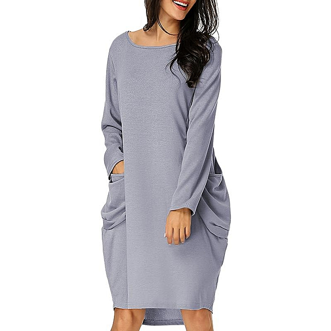 546f69163963a ZANZEA Womens Oversized Batwing Sleeve Loose Mini Dress Solid Casual Tops  Dress