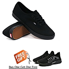 bcc56b3a6d2 Low-Top Lace Up Sneakers Buy One Get One Free - Black