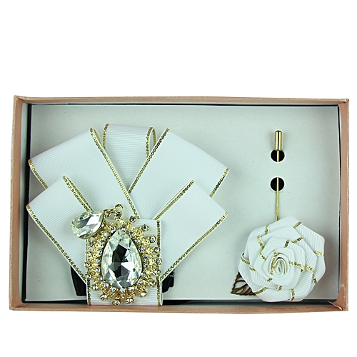 Rhinestone Detail Bow Tie Set - White/Gold
