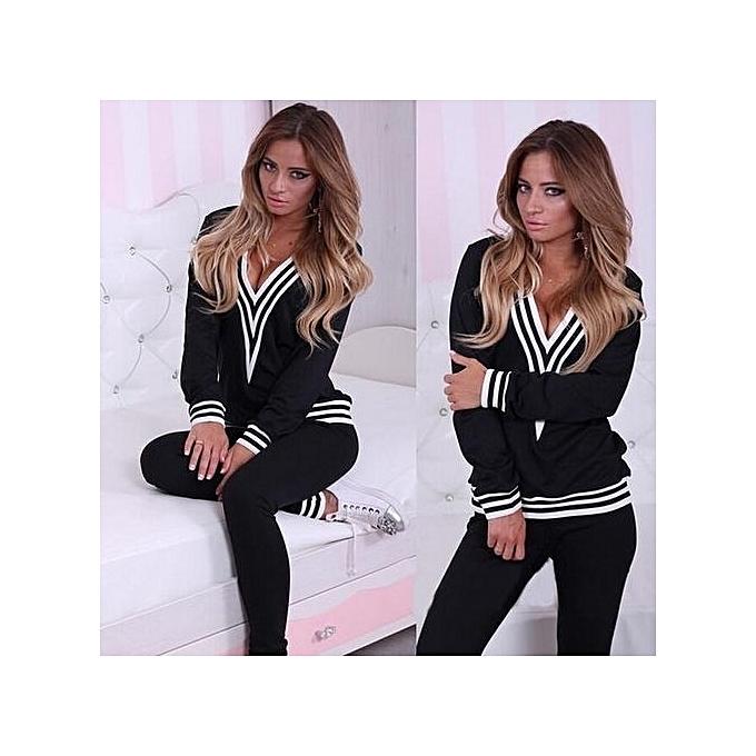 fc6a4ab5b5709 Nice Women Lady Sweatshirt Tops+Pants Casual Tracksuit Set 2Pcs Outfit  Sports Suit-Black