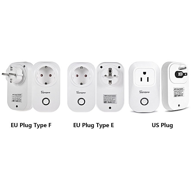 Sonoff S20 Wifi Power Socket Switch EU Plug Wireless APP Remote Socket  Outlet Timing Switch for Smart Home Work with Alexa