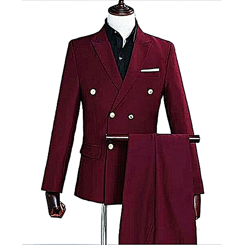 Double Breasted Slim Fit Suit - Wine Red