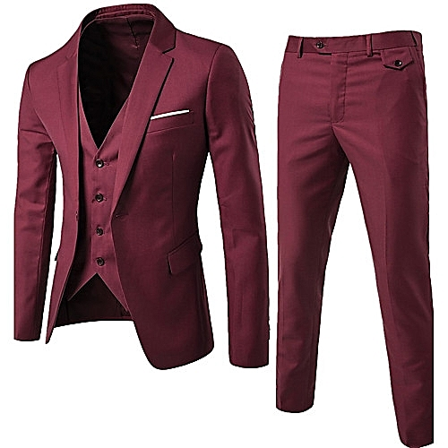 Three Piece Slim Fit Suit - Red