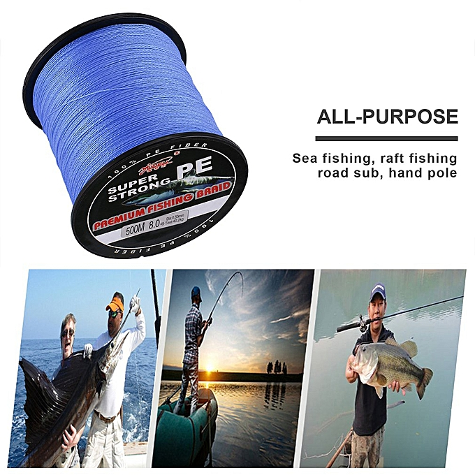 YUDELI 8 0 Line Number Super Strong 4 Strand 500M PE Braided Fishing Line  Blue
