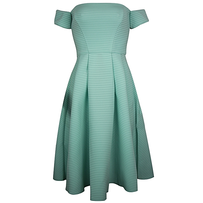 8cb60ac4b99d Quiz Striped Off-Shoulder Pleated Flare Dress - Green White