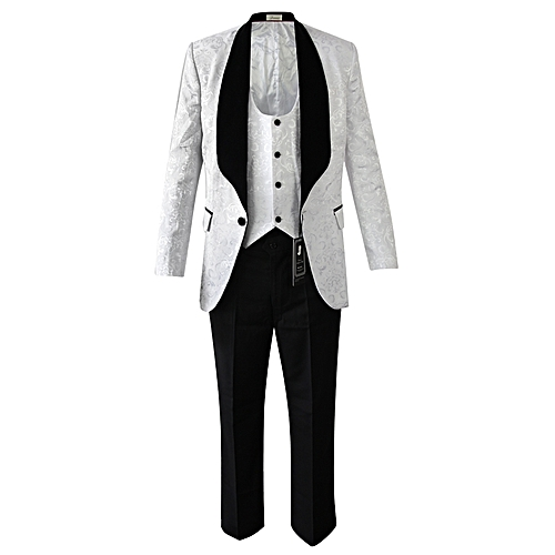 Slim Fit Wedding Suit - White/Black
